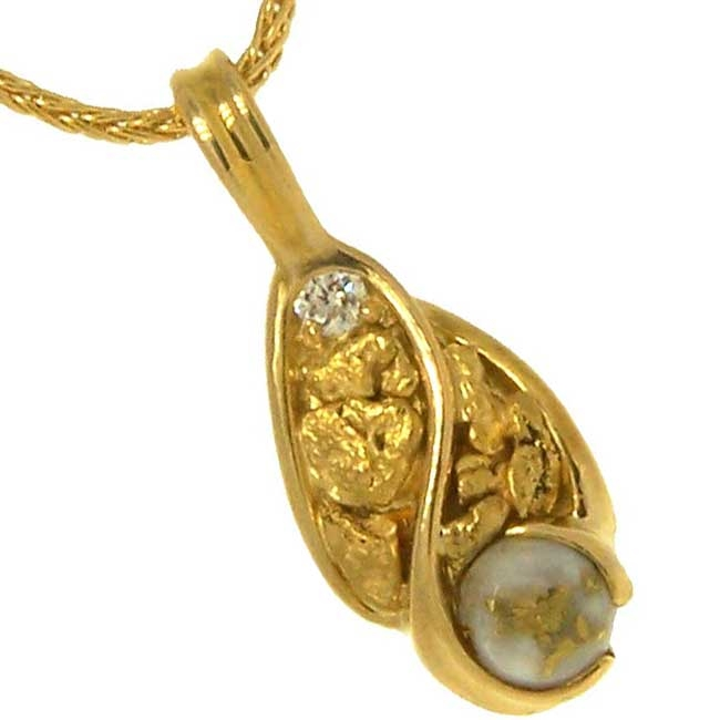 Gold Quartz Diamonds Alaskan Gold Nugget Pendant in Yellow Gold