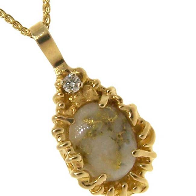 Gold Quartz Diamond and Alaskan Gold Nugget Pendant