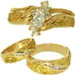 Organic Gold Nugget Wedding,Alaskan Gold Nugget Engagement Rings,Natural Gold Nugget Wedding Bands,Men's Alaskan Gold Nugget Wedding Rings,Women's Gold Nugget Engagement Rings