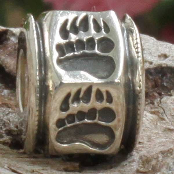 Wild Alaska Bear Paw in a Sterling Silver Bead Charm