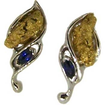 Blue Sapphire and Alaskan Gold Nugget Earrings