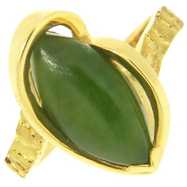 Custom Alaskan Gold Nugget and Jade Party Ring