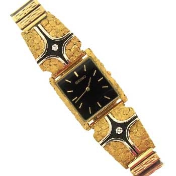 Custom Alaskan Gold Nugget Diamond SEIKO Black Face Watch