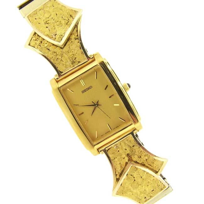 Custom Alaskan Gold Nugget SEIKO Watch Yellow Gold