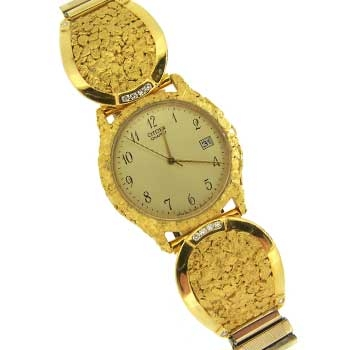 Custom Alaskan Gold Nugget CITIZEN Quartz Watch