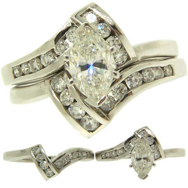 Custom Marquise Diamond Engagement Wedding Ring Set White Gold
